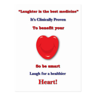 Laughter clinically proven to benefit your heart postcard