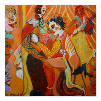 Laughter Fine Art Clown Painting Poster