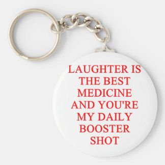 laughter i the best medicine basic round button keychain