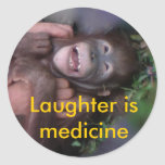 Laughter is Medicine Animals who Laugh Classic Round Sticker