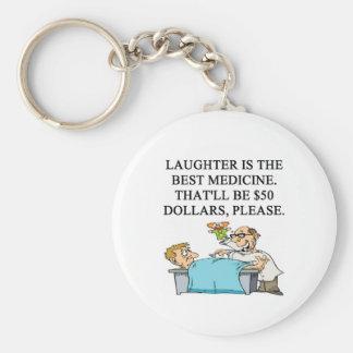 laughter is the best medicine basic round button keychain