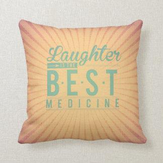 Laughter is the best medicine vintage beige teal pillow