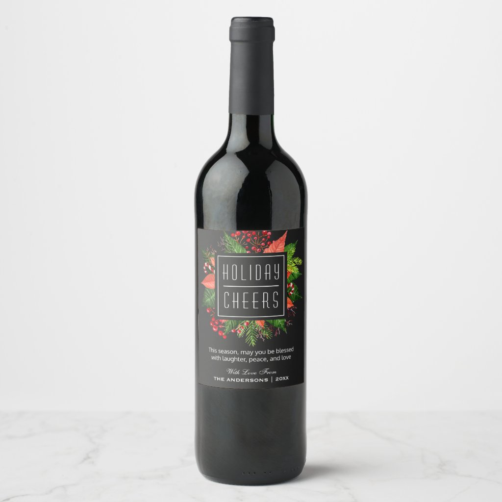 Laughter Peace and Love | Holiday Cheers Floral Wine Label