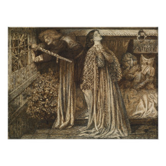 Launcelot in Queen's Chamber by Rossetti, Small Print