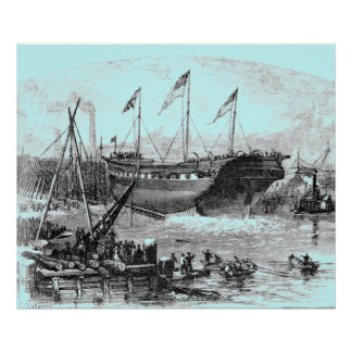 """""""Launch at Portsmouth THURSDAY JUNE 27 1839"""" Print"""