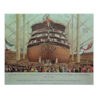 Launch of H.M.S. Royal Albert, Screw Steamer Poster