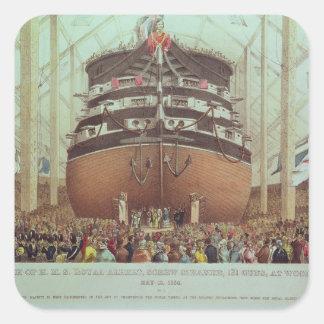 Launch of H.M.S. Royal Albert, Screw Steamer Square Sticker