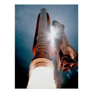 Launch of Space Shuttle Atlantis (STS-43) Poster