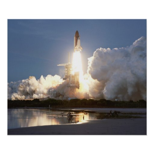 Launch of Space Shuttle Discovery (STS-48) Poster