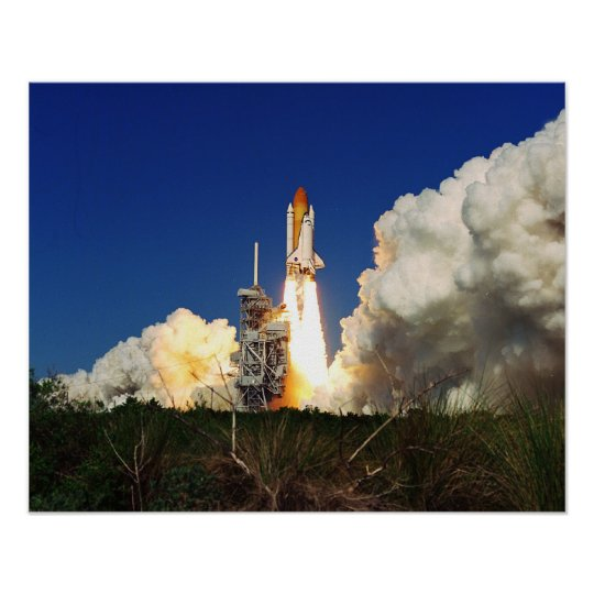 Launch of Space Shuttle Discovery (STS-95) Poster