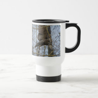 Launching Great Grey Owl & Forest Wildlife Raptor Travel Mug