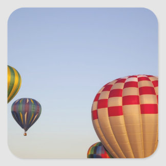 Launching hot air balloons 3 square stickers