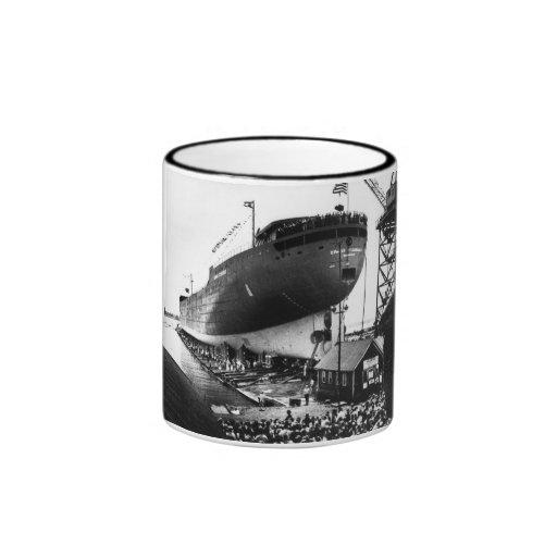 Launching of the Edmund Fitzgerald  6-8-1958 (#1) Ringer Mug