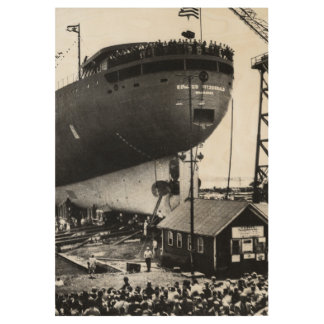 Launching of the S.S. Edmund Fitzgerald Vintage 6 Wood Poster
