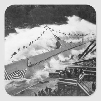 Launching of USS ROBALO 9 May 1943, at Manitowoc S Square Sticker