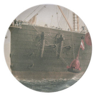 Launching the buoy, August 8th, 1865, marking the Dinner Plate