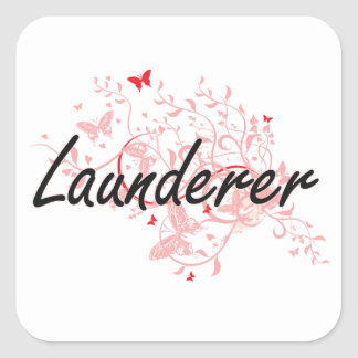 Launderer Artistic Job Design with Butterflies Square Sticker