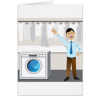 Laundry Businessman Cartoon Card