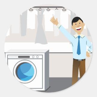 Laundry Businessman Cartoon Classic Round Sticker