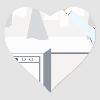 Laundry Businessman Cartoon Heart Sticker