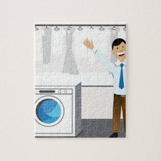 Laundry Businessman Cartoon Jigsaw Puzzle
