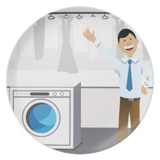 Laundry Businessman Cartoon Plates