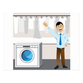 Laundry Businessman Cartoon Postcard