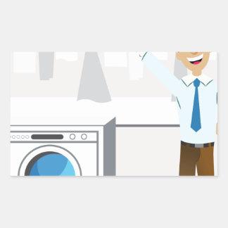 Laundry Businessman Cartoon Rectangular Sticker