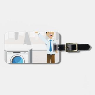 Laundry Businessman Cartoon Tag For Luggage