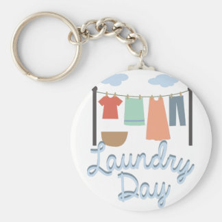 Laundry Day Basic Round Button Keychain