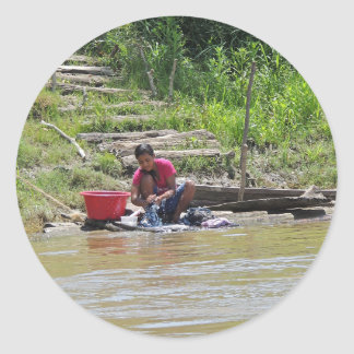 Laundry Day on the River Classic Round Sticker