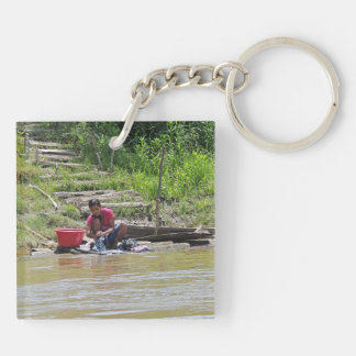 Laundry Day on the River Keychain