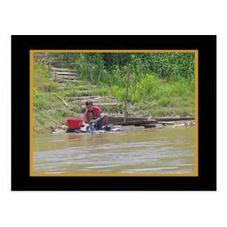 Laundry Day on the River w Faux Mat Postcard