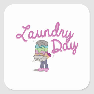 Laundry Day Square Sticker