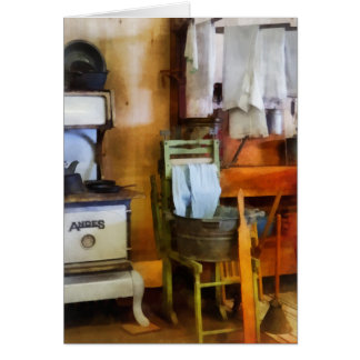 Laundry Drying in Kitchen Greeting Card