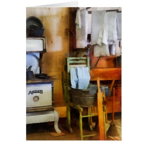 Laundry Drying in Kitchen Greeting Cards