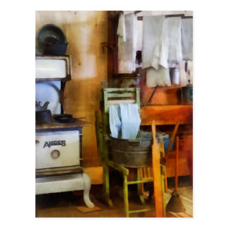 Laundry Drying in Kitchen Postcard