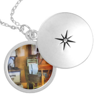 Laundry Drying in Kitchen Round Locket Necklace