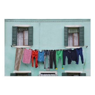 Laundry drying on clothesline, print/poster