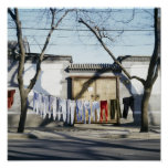 Laundry Drying on Clotheslines Poster