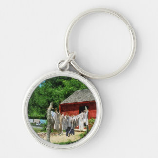 Laundry Hanging on Line Silver-Colored Round Keychain