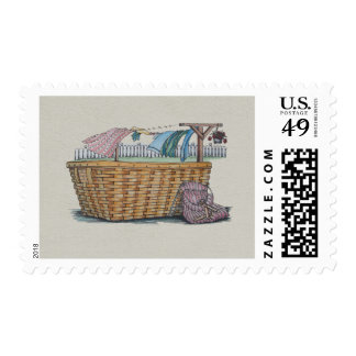 Laundry On Clothesline Postage Stamps