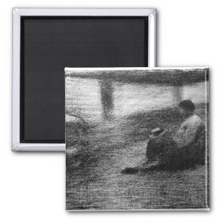 Laundry on the line by Georges Seurat 2 Inch Square Magnet