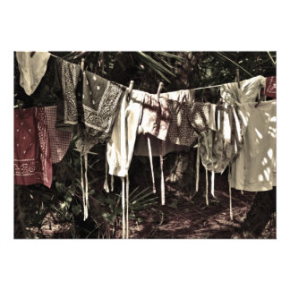 Laundry on the Line Vintage Clothes Personalized Invitations