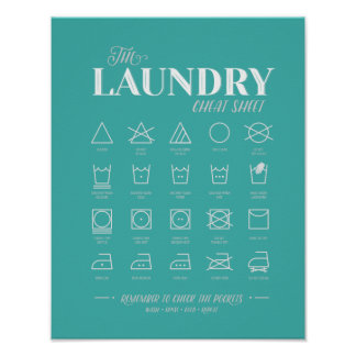 Laundry Room Cheat Sheet Poster