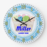 Laundry Room Personalizable Wall Clock at Zazzle