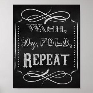 Laundry room print, Chalk art prints chalkboard