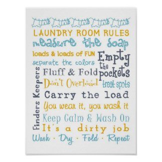 Laundry Room Rules Poster
