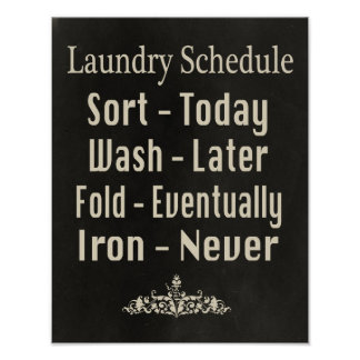 Laundry Schedule Posters