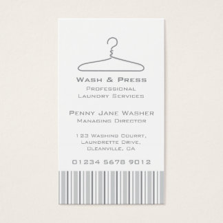 Laundry service grey swing hang tag business card